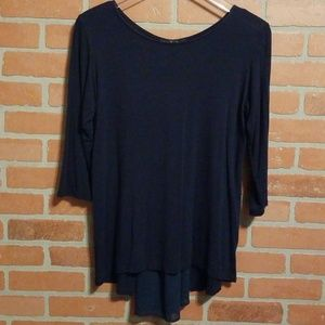 KIM & CAMI NAVY 3/4 SLEEVE TUNIC MEDIUM